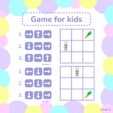 Vector illustration. game for preschool kids. rebus for children. Arrows. choose the right answer. help little hare to find carrot Stock Images