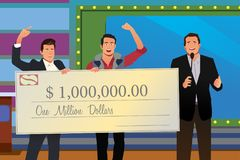 Game Show Winner Receiving Check Illustration. A vector illustration of Game Show Winner Receiving Check Stock Photos