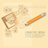 Vector illustration of   garden plan with tree symbols, pencil. Stock Photography