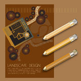 Vector illustration of garden plan with tree symbols, pencils. Stock Photography