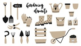 Vector illustration of garden tool elements. Spade, fork, wheelbarrow, watering can, garden gloves, rubber boots, wooden box, seeds, bucket, pruner, soil vector illustration