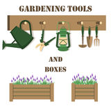 Vector illustration with gardening tools and boxes Royalty Free Stock Image