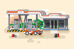 Vector illustration of gas and petrol filling station. Stock vector illustration of gas and petrol filling station in a flat style Stock Photos