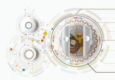 Vector illustration gear robot innovation engineering telecoms t Royalty Free Stock Image