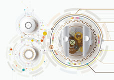 Vector illustration gear robot innovation engineering telecoms t. Vector illustration robot innovation and gear with icon. Hi-tech digital technology and vector illustration