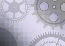 Vector illustration of gear wheel abstract background. Blue transparent banner with clockwork. EPS10 royalty free illustration