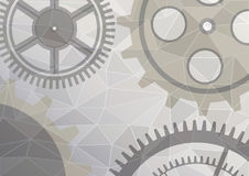 Vector illustration of gear wheel abstract background. Grey transparent banner with clockwork. Poligonal design. EPS10 Vector Illustration