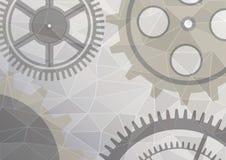 Vector illustration of gear wheel abstract background. Grey transparent banner with clockwork. Poligonal design.  EPS10 Stock Image