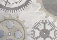 Vector illustration of gear wheel abstract background. Transparent banner with clockwork. Poligonal design. EPS10. Vector illustration of gear wheel abstract Royalty Free Illustration