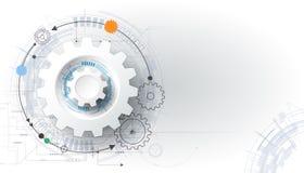Vector illustration gear wheel and circuit board royalty free illustration