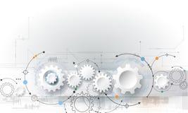 Vector illustration gear wheel and circuit board stock illustration