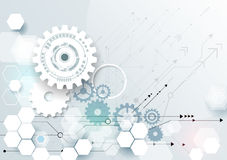 Vector illustration gear wheel, hexagons and circuit board Royalty Free Stock Photo