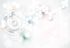 Vector illustration gear wheel, hexagons and circuit board, Hi-tech digital technology and engineering Stock Photography