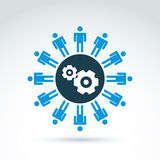 Vector illustration of gears - enterprise system theme, organiza. Tion strategy concept. Cog-wheels, moving parts and people – components of manufacturing Stock Photography