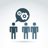 Vector illustration of gears - enterprise system theme, organiza. Tion strategy concept. Cog-wheels and moving parts placed in a speech bubble – chat on Royalty Free Stock Images