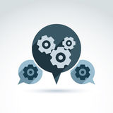 Vector illustration of gears - enterprise system theme, organiza. Tion strategy concept. Cog-wheels and moving parts placed in a speech bubble – chat on Stock Photo