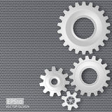 Vector illustration of gears with on the gear on perforated meta Stock Photography