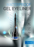 Vector Illustration with gel eyeliner container. Royalty Free Stock Photo