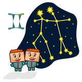 Vector illustration of the Gemini with a rectangular faces. Cartoon Zodiac signs. A schematic arrangement of stars in the constellation Gemini Royalty Free Stock Photo