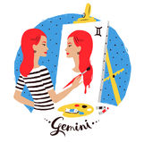 Vector illustration of Gemini zodiac sign. Stock Photo