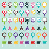 Vector illustration of geo location pins travel elements composi Royalty Free Stock Image