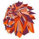 Vector illustration of geometric lion head. Bright colors Royalty Free Stock Photo