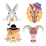 Vector illustration of geometrical flat design style animal port Royalty Free Stock Photos