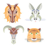 Vector illustration of geometrical flat design style animal port Stock Images
