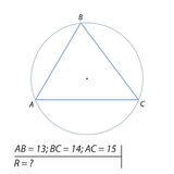 Vector illustration of a geometrical problem to find the radius of the circle described about the trapezium-01 Stock Photos