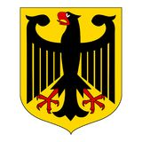 Vector illustration German coat. Of arms eagle  isolated on white background. German symbol, sign Stock Photo