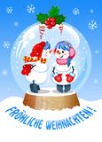Vector Illustration in german language. Cute Christmas Snow Globe with Kissing snowman inside vector illustration