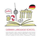 Vector doodle illustration German language school. Vector illustration German language school. Open book and symbols of Germany: beer, the Brandenburg gate, the Royalty Free Stock Photo