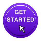 Get started button. Vector illustration of get started icon web round violet button on white background vector illustration