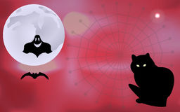 Vector illustration of a ghost and a bat flying around, black cat waiting for Halloween holiday Stock Images