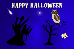 Vector illustration of a ghost and a bat flying around, black cat waiting for Halloween holiday Stock Image