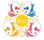 Vector illustration of ghosts. Halloween spirits in different bright colors. Greeting card with phantoms saying Boo Royalty Free Stock Photos