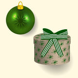 Vector illustration of a gift in the box and and burning candle pattern Royalty Free Stock Image