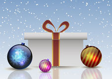 Vector illustration. Gift box with christmas balls on a background of falling snow Royalty Free Stock Image