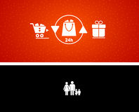 Vector illustration of gift buying and presenting Stock Photo