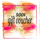 Vector illustration,Gift voucher template with colorful pattern. Watercolor,mandala in design. Vector illustration,Gift voucher template with colorful pattern Royalty Free Stock Photo