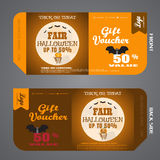 Vector illustration of gift voucher to Halloween sale. Royalty Free Stock Photos