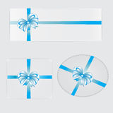 Vector illustration of gifts with blue bows and ribbons Stock Images