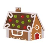 Vector illustration of a gingerbread house. Stock Photo