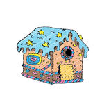 Vector illustration of a gingerbread house. Royalty Free Stock Images
