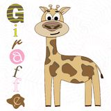 Vector illustration of a giraffe on a white background. T-shirt graphics for kids stock illustration