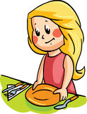 Vector illustration with a girl arranging the tableware. For dining royalty free illustration