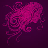 Vector illustration of a girl with beautiful hair Stock Photography
