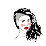 Vector illustration of girl with beautiful hairstyle, logo,portrait. On white Stock Photography