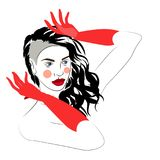 Vector illustration of girl with beautiful hairstyle with red gloves, logo, portrait. On white Royalty Free Stock Images