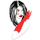 Vector illustration of girl with beautiful hairstyle with red gloves, logo, portrait. On white Stock Image